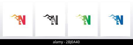 Fire Flame On Letter Logo Design N - Stock Photo