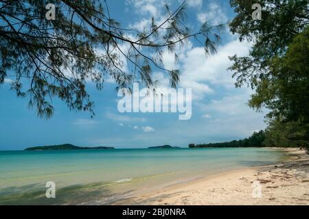 Long Beach on Koh Ta Kiev paradise island near Sihanoukville Cambodia - Stock Photo