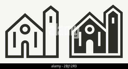 Minimal church building outline and solid vector icons - Stock Photo