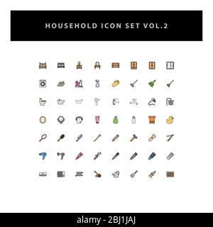 household appliances vector icons set vol 2 with filled outline style design - Stock Photo