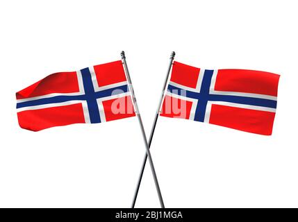 Norway flags crossed isolated on a white background. 3D Rendering - Stock Photo