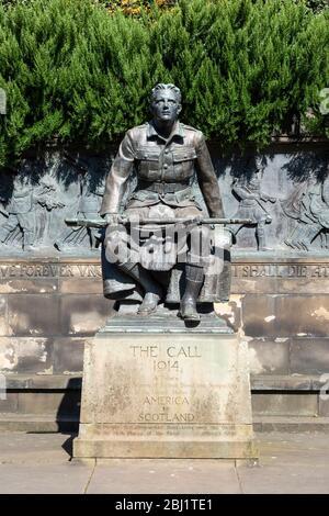 The Call 1914 - Scottish-American War Memorial in West Princes Street Gardens, Edinburgh, Scotland, UK - Stock Photo