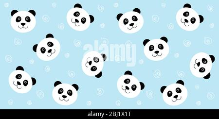 Cute panda seamless pattern. Vector blue background with kawaii white panda face. For children's wallpaper, fabric - Stock Photo