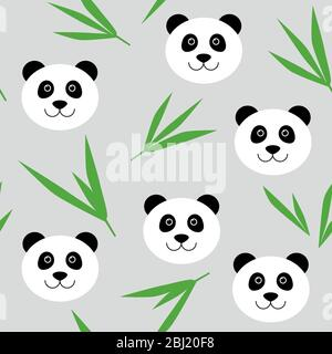 Cute cartoon panda bear seamless pattern. Vector background with panda face and bamboo leaves. For children's textile - Stock Photo