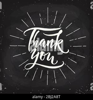 Thank you vintage style calligraphic hand written text. - Stock Photo
