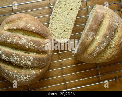 Freshly baked oat bread made with white bread flour and oat flour topped with rolled oats on a wire rack - Stock Photo