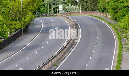an empty main road (A35 Totton Bypass) due to the 'Stay at home' coronavirus message - April 2020 - Stock Photo