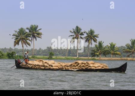 Allepey backwaters boats in Kerala state, India - Stock Photo