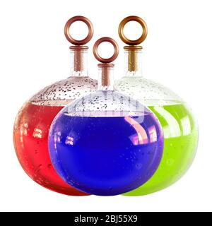 Three round glass carafes with blue, red, and green liquid and drops on the glass on a white background 3d rendering - Stock Photo