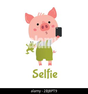 Vector Pink Piggy boy with a green frog makes selfie.  - Stock Photo