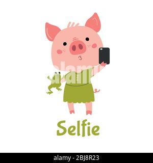 Vector Pink Piggy girl with a green frog makes selfie.  - Stock Photo