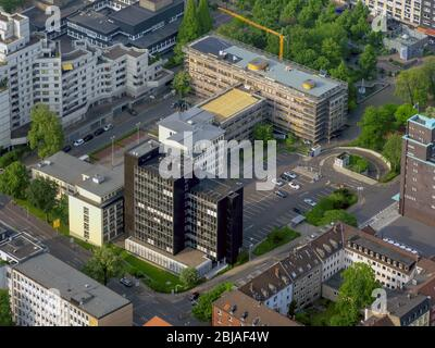 Construction for the reconstruction of Agentur fuer Arbeit in on Vettmannstrasse in Gelsenkirchen, 26.05.2016, aerial view, Germany, North Rhine-Westphalia, Ruhr Area, Gelsenkirchen - Stock Photo