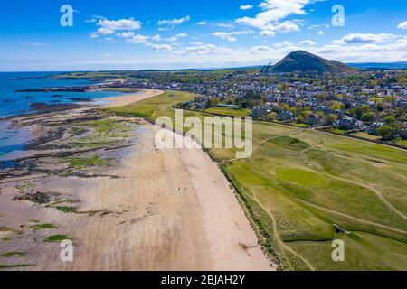 Aerial view of North Berwick beach and North Berwick Golf Club, East Lothian, Scotland, UK