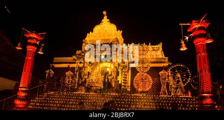 Once every six years,Sree Padmanabhaswamy temple ramps up the wow-factor with 1 lakh lights from oil lamps (lakshadeepam). - Stock Photo