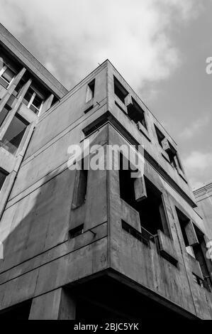 Example of Brutalist Architecture style. Details of brutalist concrete building. Part of the Centre National de la Danse (National Dance Center), publ