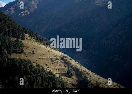 Caucasus, Georgia, Tusheti region, Dartlo. Lonely house on a mountain side near Dartlo