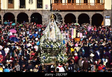 Procession during the festivities of Corpus Christi in Cuzco. Peru, South America - Stock Photo