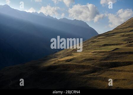 Caucasus, Georgia, Tusheti region, Kvavlo. Lonely house on a mountain side near Dartlo