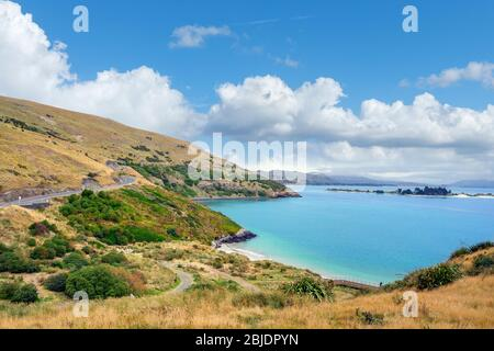 Beach at Taiaroa Head near the Royal Albatross Centre, Dunedin, Otago, New Zealand - Stock Photo