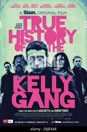TRUE HISTORY OF THE KELLY GANG, Australian poster, from left: Nicholas Hoult, Russell Crowe, George Mackay, Essie Davis, Charlie Hunnam, 2019. © IFC Films / Courtesy Everett Collection