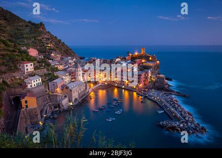 Twilight view over Vernazza - one of the Cinque Terre along Liguria's coast, Italy - Stock Photo