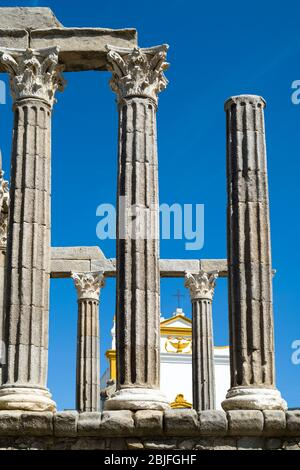 Roman Temple, The temple of Diana, next to Pousada Convento dos Loios de Evora in Portugal - Stock Photo