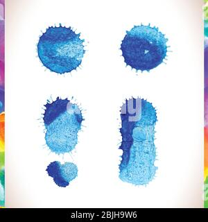 Vector blue watercolor painted stains set. Abstract blue watercolor hand paint splashes. - Stock Photo