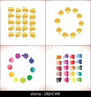 Vector round frame made of watercolor rainbow and gold  blobs, colorful paint drops texture. - Stock Photo