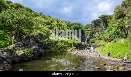 Pools of Oheo AKA Seven Sacred Pools Stock Photo