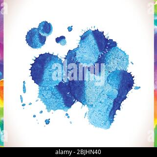Vector blue watercolor painted stains set. Blue watercolor textured vector backgrounds set - Stock Photo