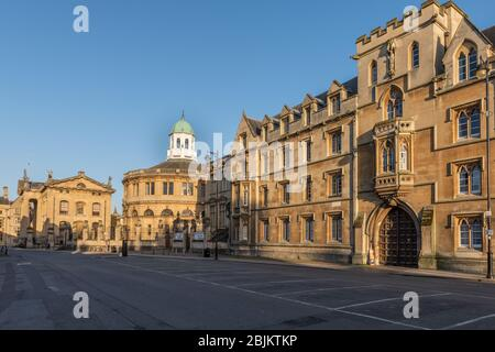 (from Left) The Bodleian Library, Sheldonian Theatre and Exeter College on Broad Street.  Taken during the coronavirus isolation, easter 2020.  It is very unusual to see a scene such as this devoid of people na cars