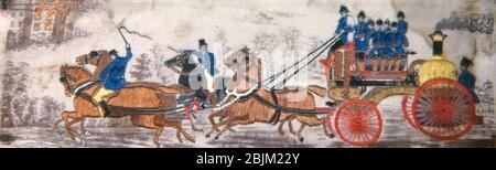 Author: Thomas Stevens. Heroism on Land (Fire Engine) - 1875/1900 - Woven by Thomas Stevens (English, 1828'1888) England, Coventry 1875'1900. - Stock Photo