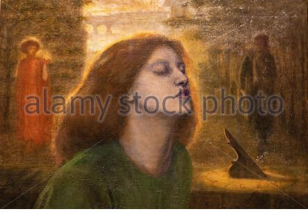 'Beata Beatrix', (1864 -70) by Dante Gabriel Rossetti (1828-1882); oil painting on canvas.The red head of hair is beautiful. The model is Elizabeth Siddal. Detail. - Stock Photo