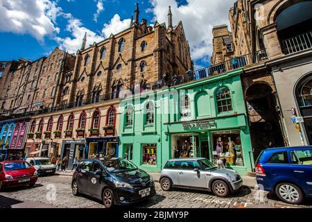 Victoria Street, Old Town, Edinburgh, Scotland, United Kingdom, Europe - Stock Photo