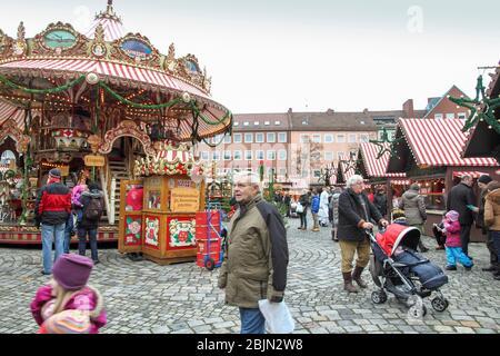 Christmas market in Nuremberg Germany. - Stock Photo