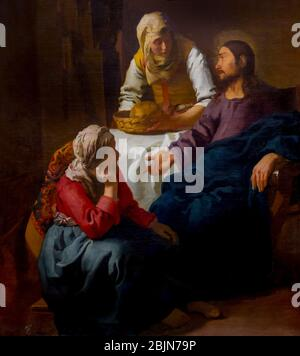Christ in the House of Martha and Mary, Johannes Vermeer, circa 1654-1655, - Stock Photo