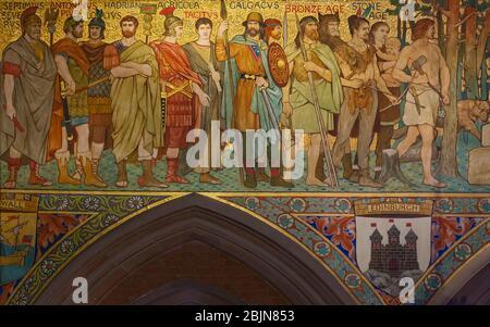 Main Hall frieze depicting Scottish Historical figures, Interior, Scottish National Portrait Gallery, Edinburgh, Scotland, UK - Stock Photo