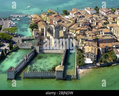 castel Castello Di Sirmione on peninsula Sirmione on Lago di Garda, 01.09.2016, aerial view, Italy, Lombardy, Lake Garda, Sirmione
