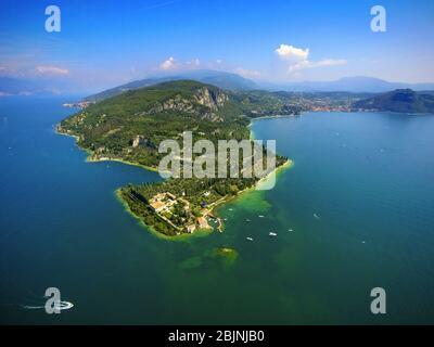 peninsula Punta San Vigilio in lake Garda, 01.09.2016, aerial view, Italy, Veneto, Garda - Stock Photo