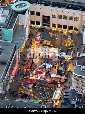 , christmas market on square Alter Markt in Dortmund, 23.11.2016, aerial view, Germany, North Rhine-Westphalia, Ruhr Area, Dortmund - Stock Photo