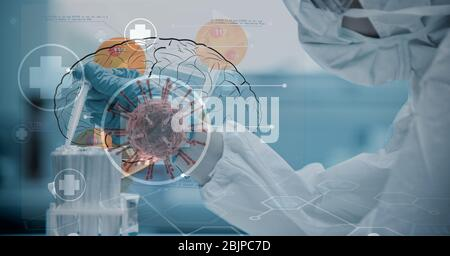 Digital illustration of a scientist wearing a face mask over a human brain drawing - Stock Photo