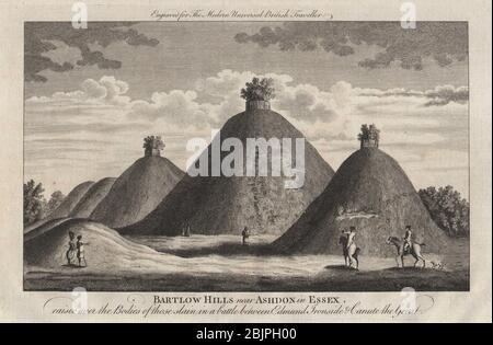 Bartlow Hills, Cambridgeshire. Roman Burial mounds. BURLINGTON 1779 old print - Stock Photo