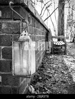 Lantern hanging from a brick wall next to a wooden bench in a secluded forest grove of trees - Stock Photo