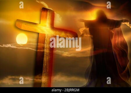 Jesus Christ and cross on beautiful sky background. Christian religion symbol. Resurrection of Jesus. The Crucifixion.