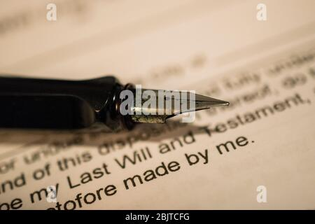 Last will and testament with fountain pen Stock Photo