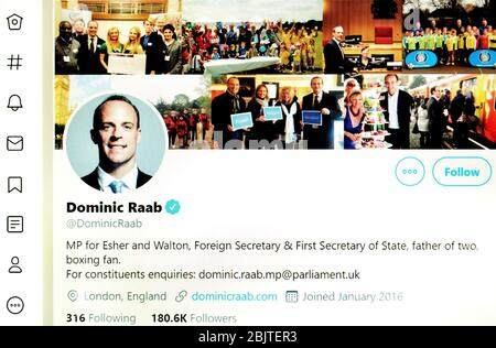Twitter page (May 2020) : Dominic Raab, Foreign Secretary - Stock Photo