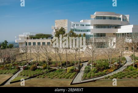 LOS ANGELES, CALIFORNIA, USA - MAY 2009: Gardens and buildings at the Getty Center - Stock Photo