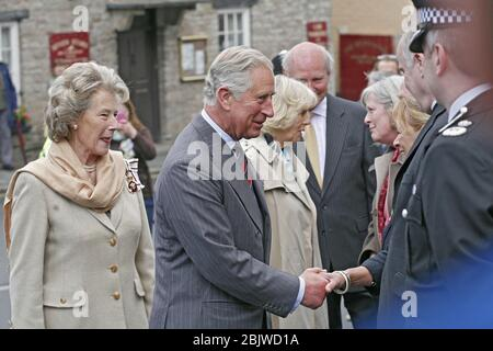 Prince Charles and the Duchess of Cornwall visit the book Town of Hay-On-Wye on the Welsh border during the Prince Charles's annual tour of Wales on t - Stock Photo