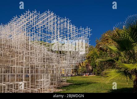 Installation art object called 'The Cloud' in the center of Tirana, Albania.  Designed by the renowned Japanese architect Sou Fujimoto. - Stock Photo
