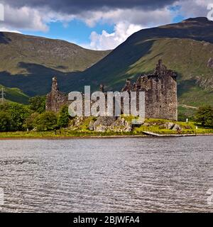 Kilchurn Castle ruins on the banks of Loch Awe in Scotland - Stock Photo